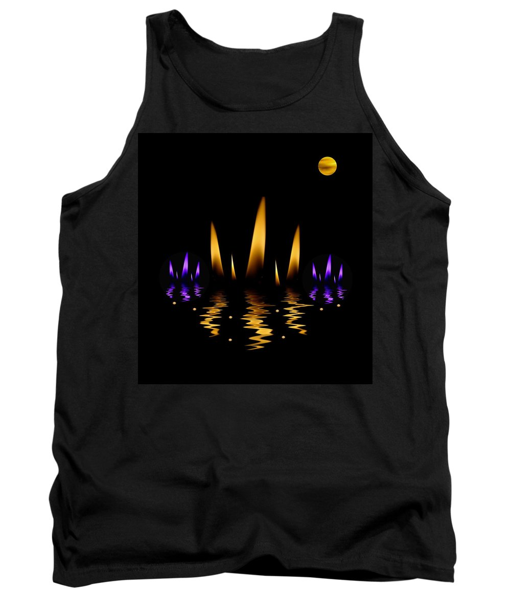 Lotus Tank Top featuring the mixed media Lotus On Fire In The Dark Night by Pepita Selles