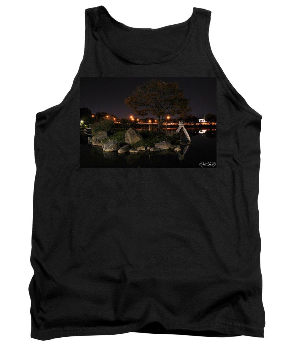 Garden Tank Top featuring the photograph 006 Japanese Garden Autumn Nights  by Michael Frank Jr