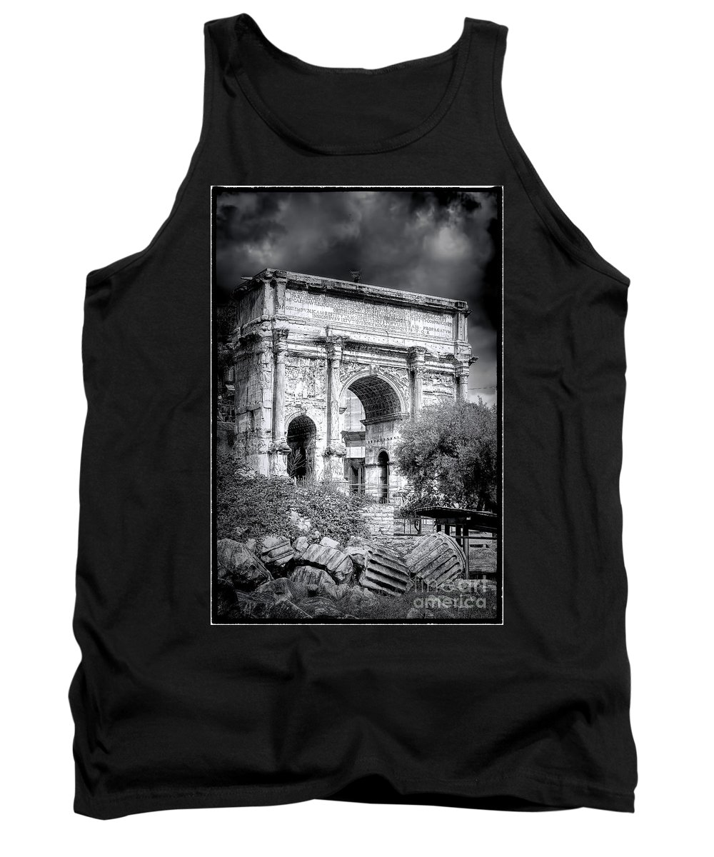 The Tank Top featuring the photograph 0791 The Arch Of Septimius Severus Black And White by Steve Sturgill