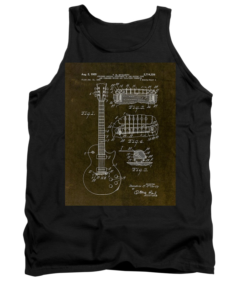 Guitar Tank Top featuring the drawing 1955 Gibson Les Paul Patent Drawing by Gary Bodnar