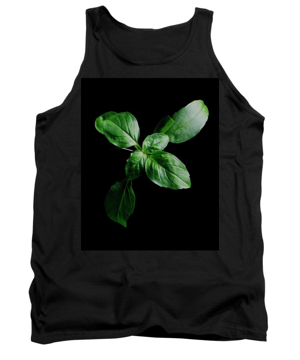 Herbs Tank Top featuring the photograph A Sprig Of Basil by Romulo Yanes