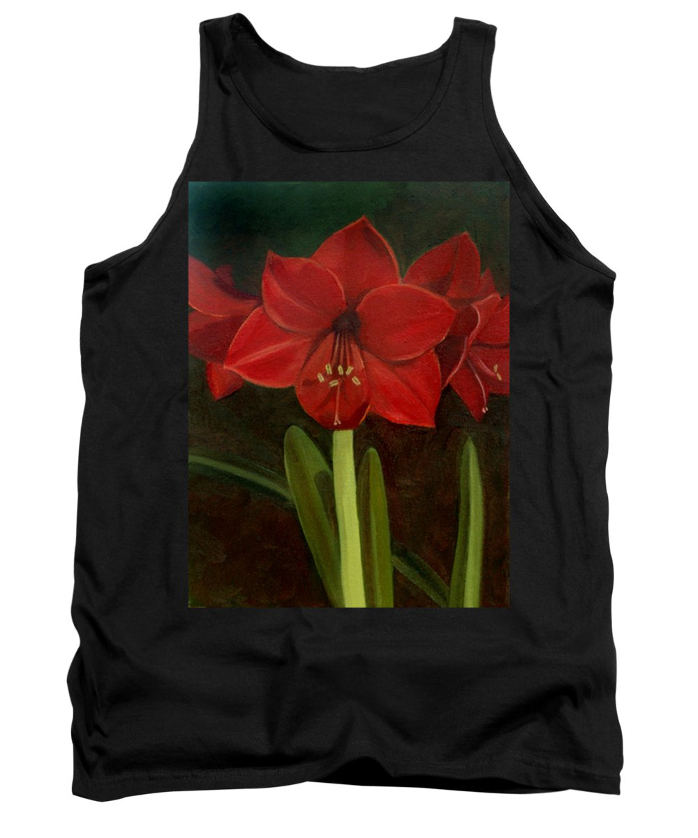 Amaryllis Tank Top featuring the painting Amaryllis by Nancy Griswold