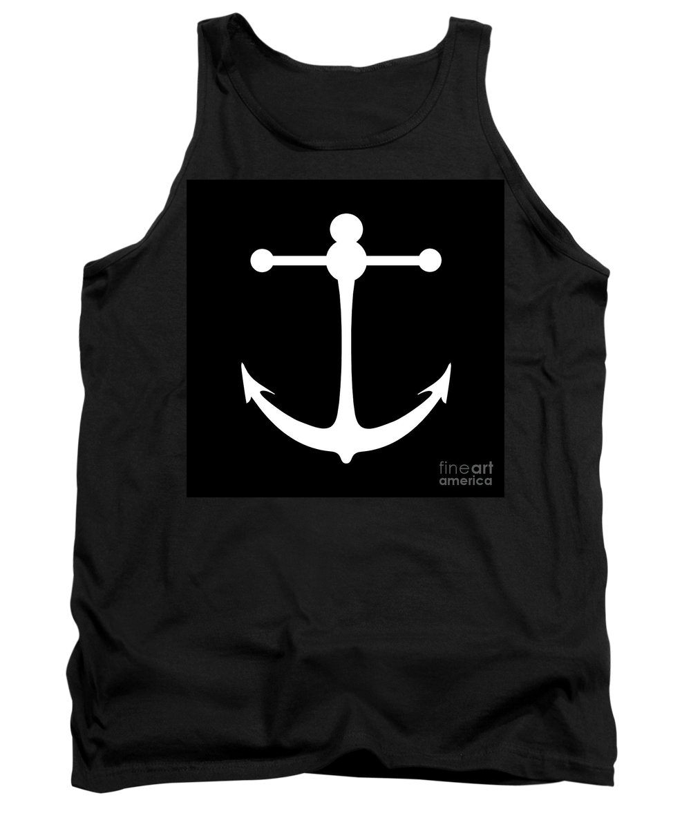 Graphic Art Tank Top featuring the digital art Anchor In Black And White by Jackie Farnsworth