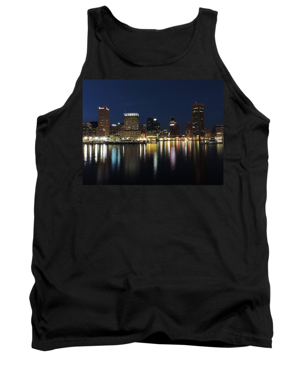 Baltimore Tank Top featuring the photograph Baltimore Skyline At Dusk On The Inner Harbor by Cityscape Photography