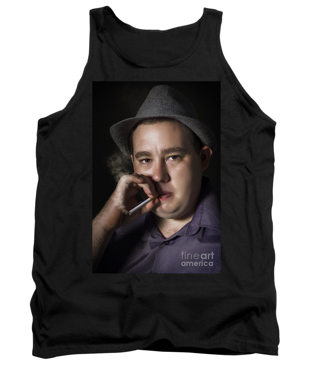 Gangster Tank Top featuring the photograph Big Mob Boss Smoking Cigarette Dark Background by Jorgo Photography - Wall Art Gallery
