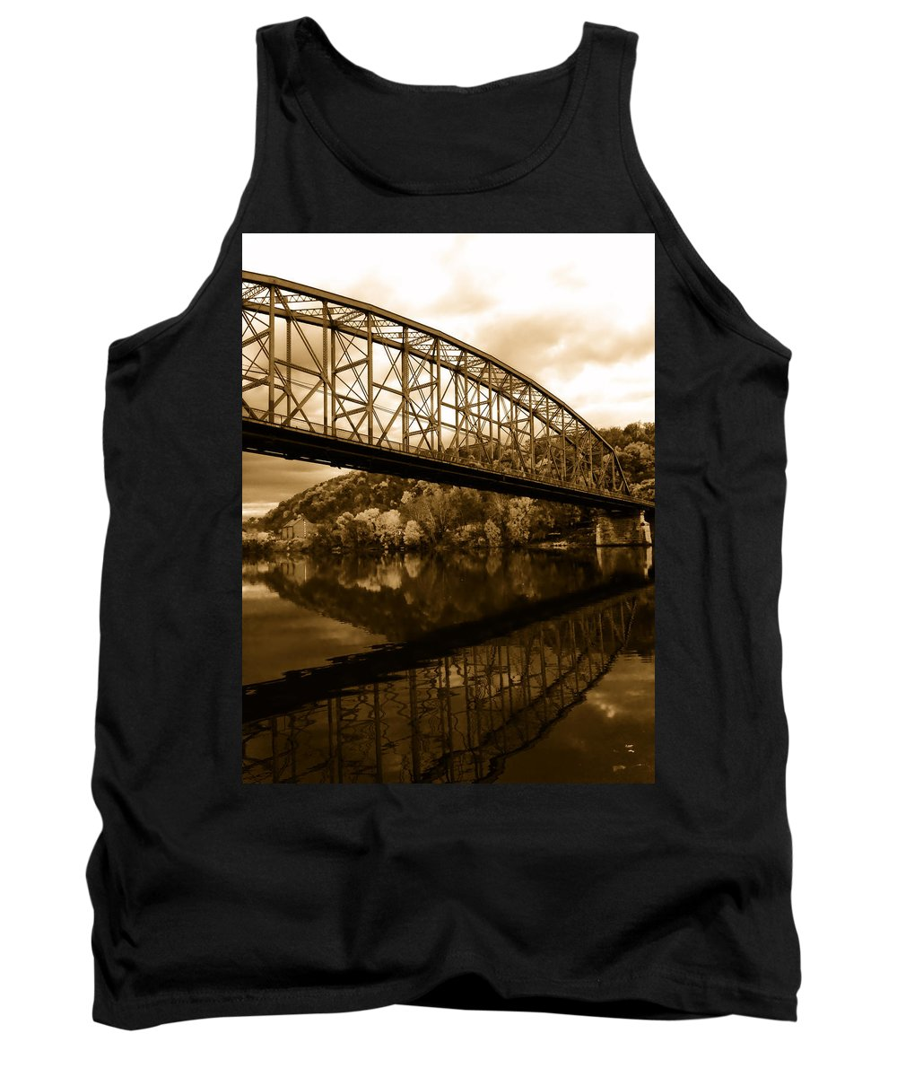 Bridge Tank Top featuring the photograph Bridge Reflections In Autumn by Mountain Dreams