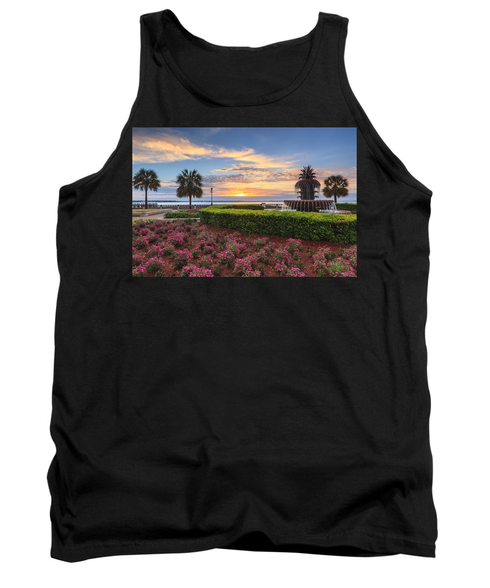 Pineapple Fountain Tank Top featuring the photograph Charleston Sc Waterfront Pineapple Fountain by Carol VanDyke