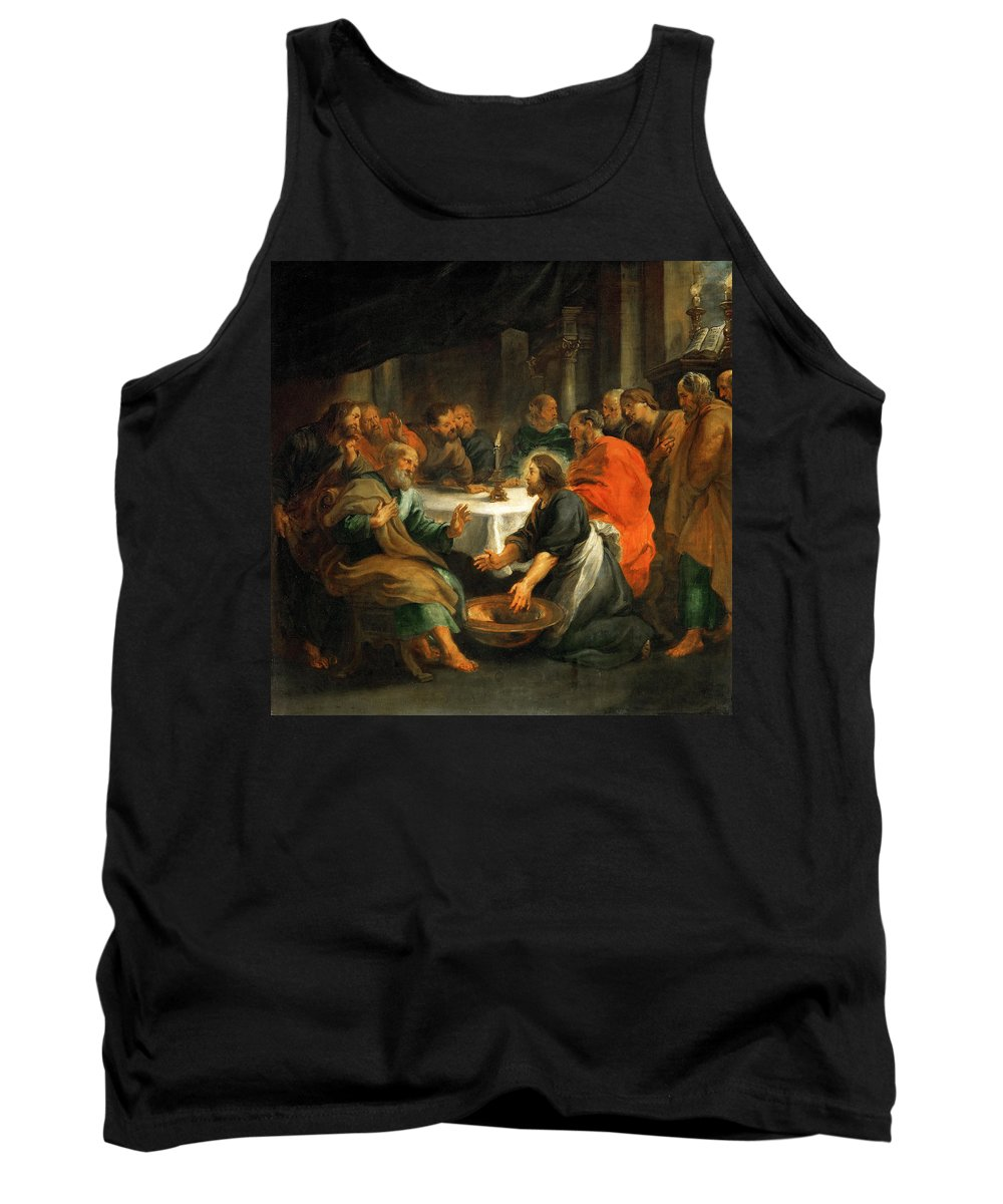 Peter Paul Rubens Tank Top featuring the painting Christ Washing The Apostles' Feet by Peter Paul Rubens