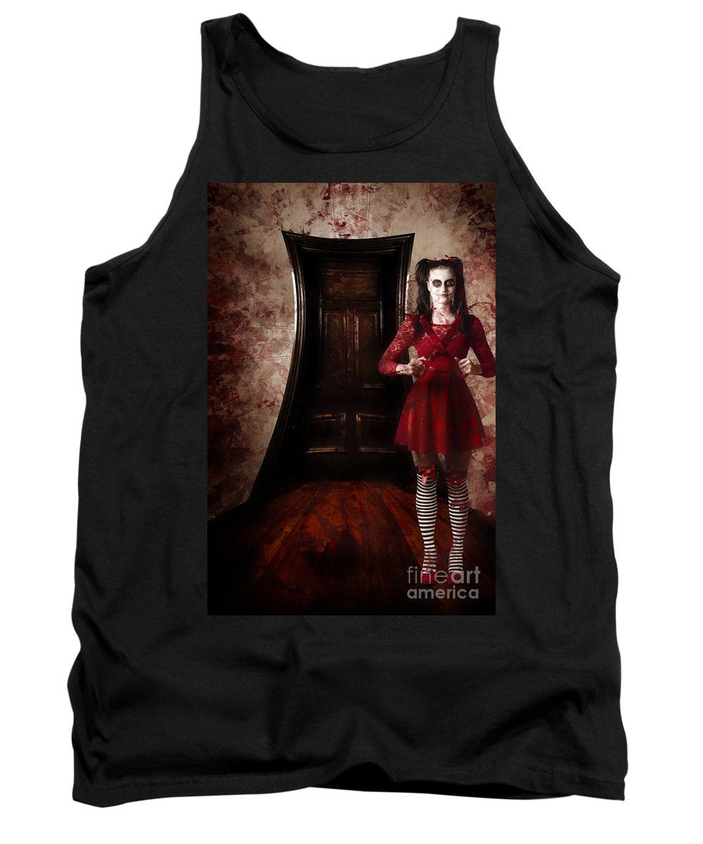 Haunted House Tank Top featuring the photograph Creepy Woman With Bloody Scissors In Haunted House by Jorgo Photography - Wall Art Gallery