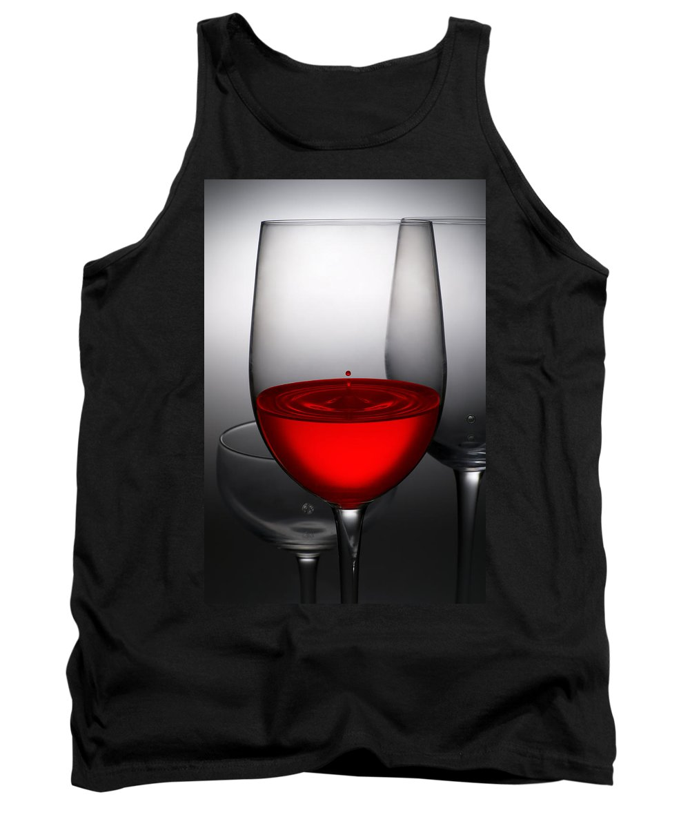 Abstract Tank Top featuring the photograph Drops Of Wine In Wine Glasses by Setsiri Silapasuwanchai