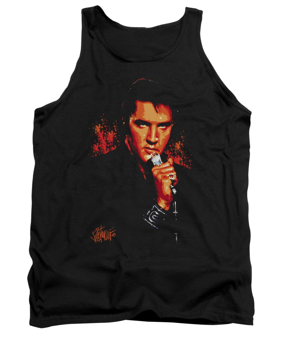 Elvis Tank Top featuring the digital art Elvis - Trouble by Brand A