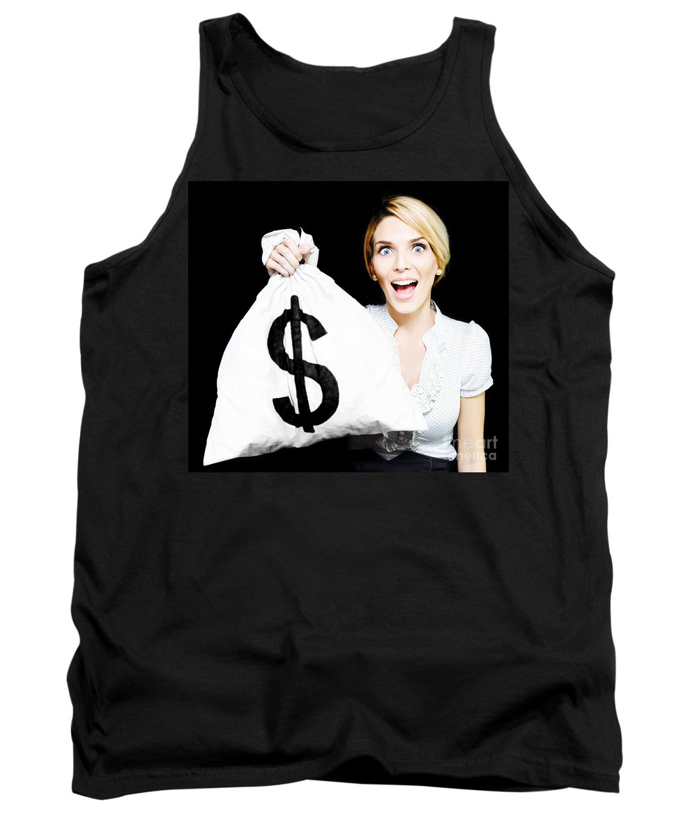 Affluence Tank Top featuring the photograph Euphoric Business Woman Holding Unexpected Windfall by Jorgo Photography - Wall Art Gallery