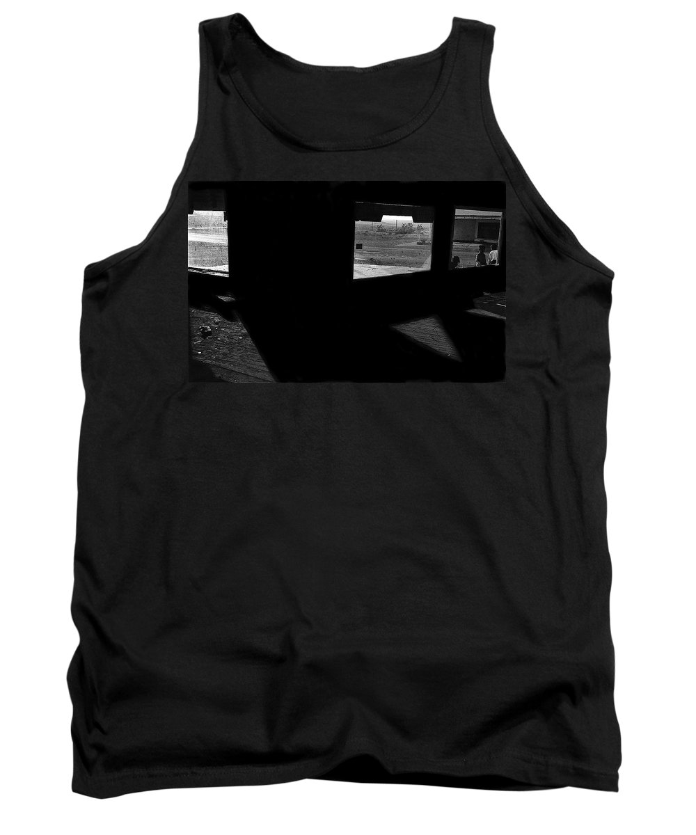 Film Noir Peter Lorre Fritz Lang M 1931 Ghost Town Magdalena New Mexico 1971 Tank Top featuring the photograph Film Noir Peter Lorre Fritz Lang M 1931 Ghost Town Magdalena New Mexico 1971-2008 by David Lee Guss