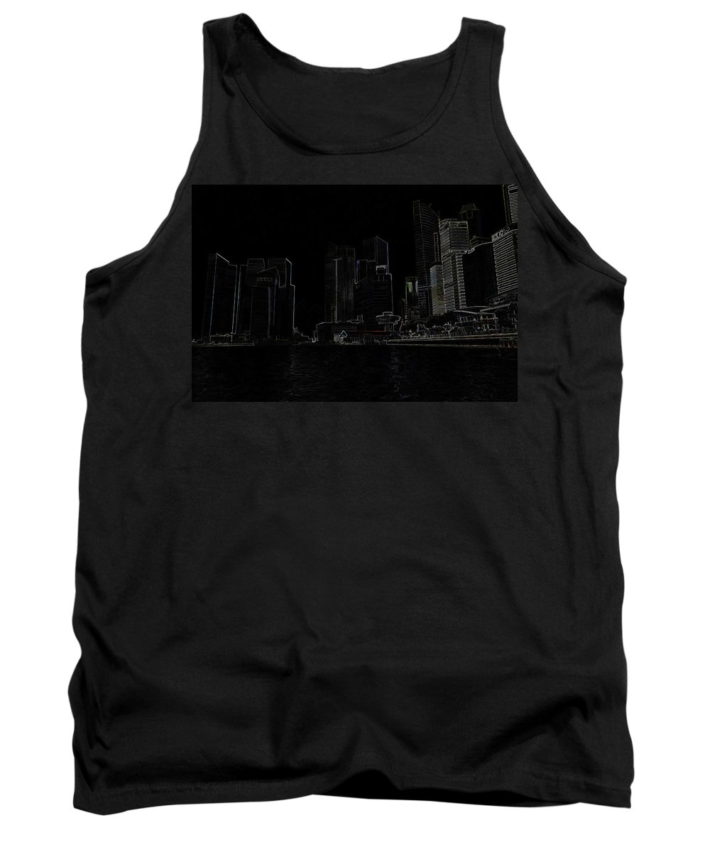 Building Tank Top featuring the photograph Financial District Of Singapore And View Of The Water by Ashish Agarwal