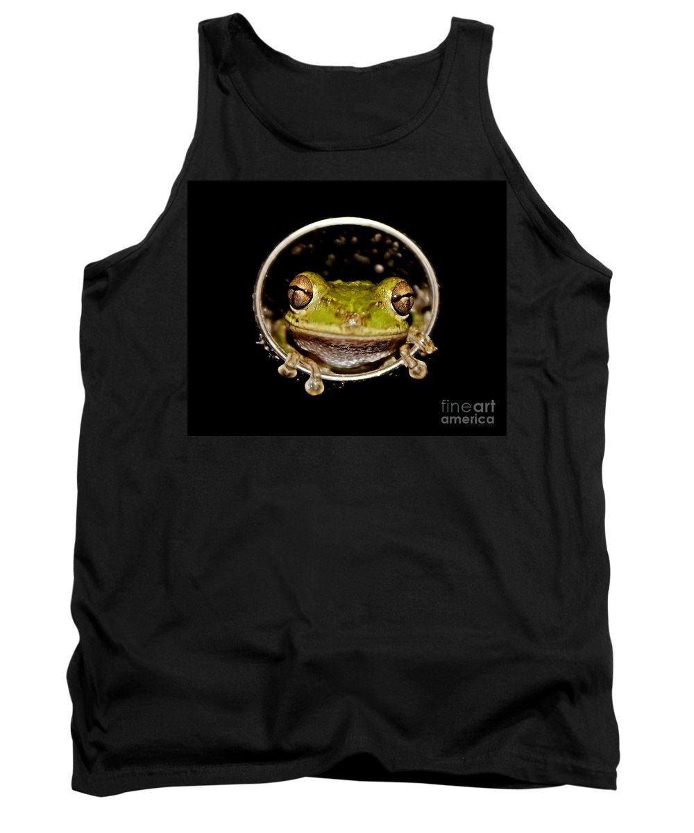 Macro Tank Top featuring the photograph Frog by Olga Hamilton