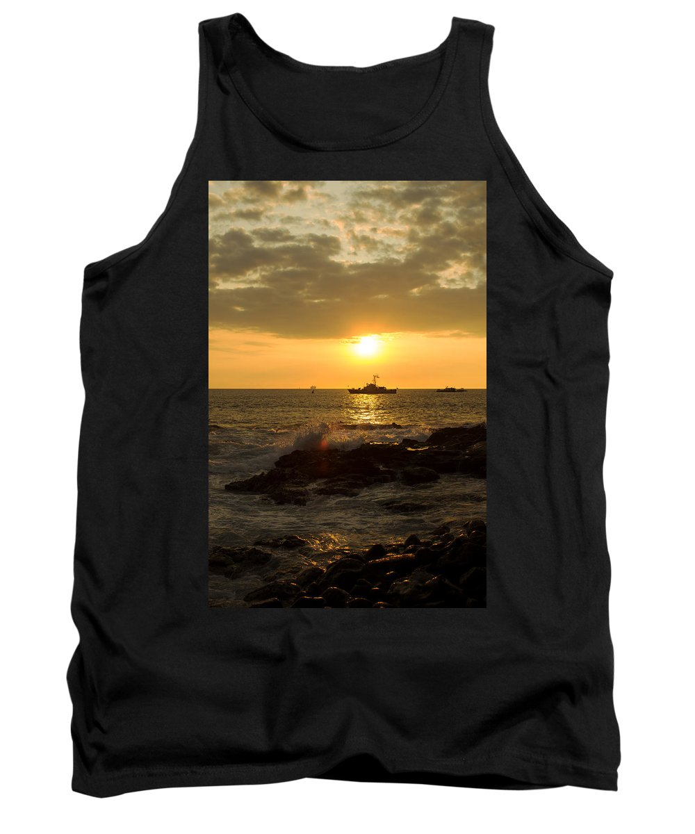 Boat Tank Top featuring the photograph Hawaiian Waves At Sunset by Bryant Coffey