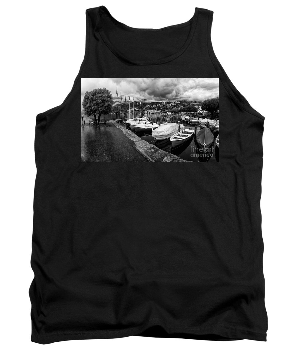Building Tank Top featuring the photograph Lake Maggiore Bw by Timothy Hacker
