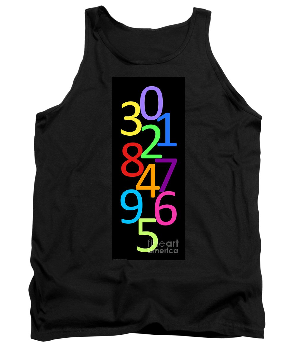 Numbers Tank Top featuring the digital art Multi-color Numbers by Jackie Farnsworth