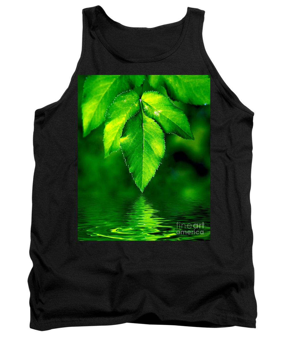 Abstract Tank Top featuring the photograph Natural Leaves Background by Michal Bednarek