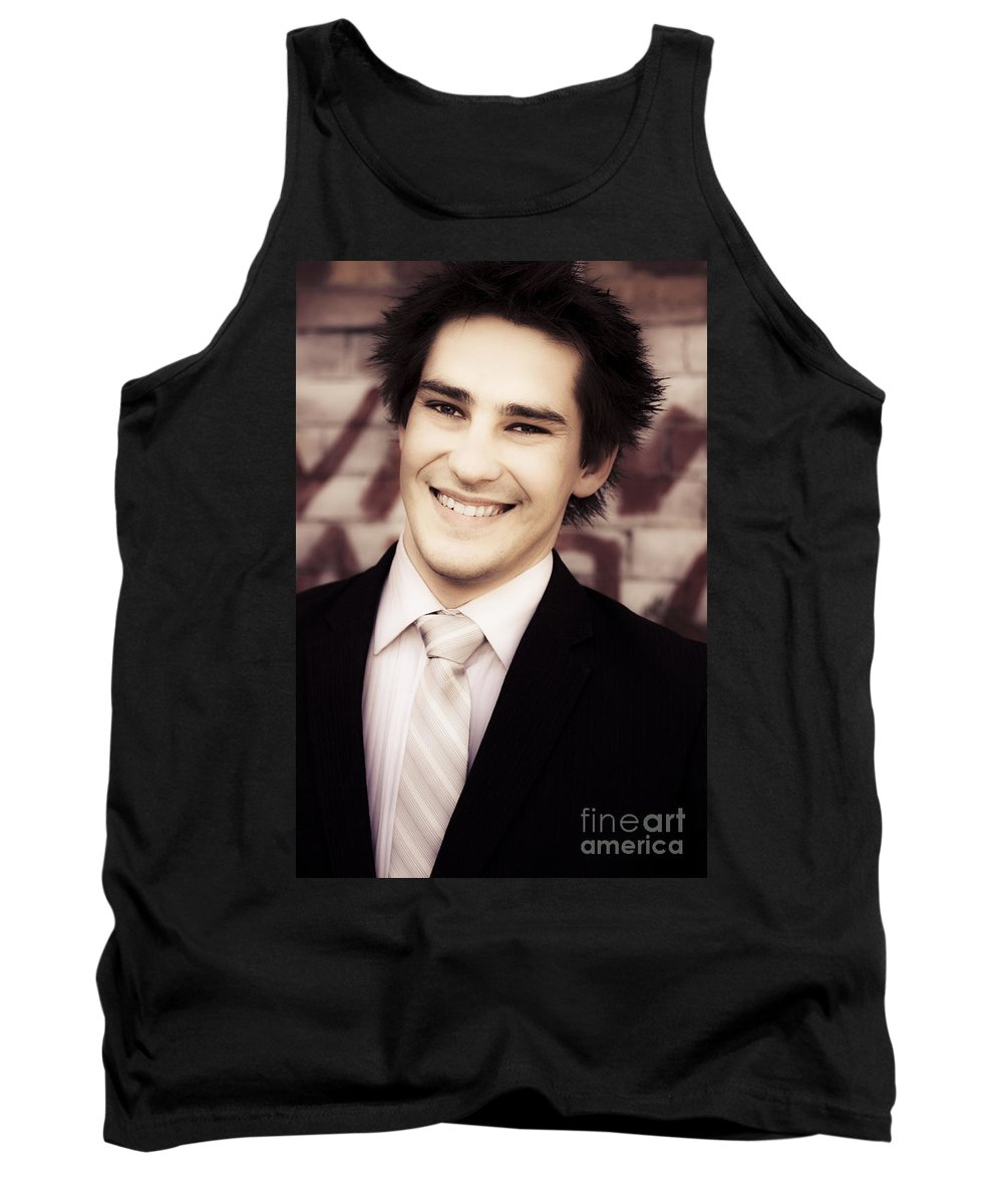Person Tank Top featuring the photograph Old Fashion Business Service With A Smile by Jorgo Photography - Wall Art Gallery