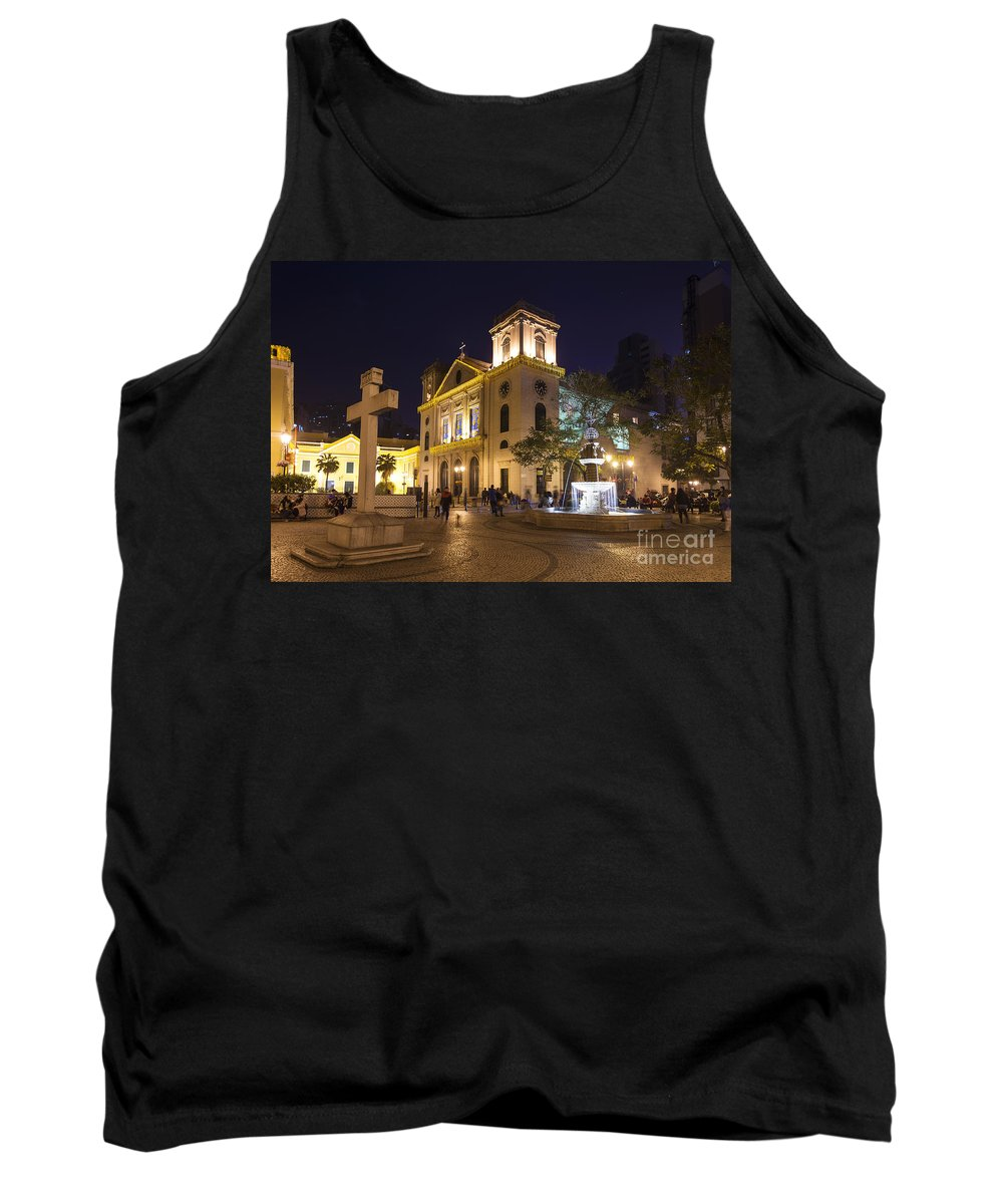 Architecture Tank Top featuring the photograph Old Portuguese Colonial Church In Macau Macao China by Jacek Malipan