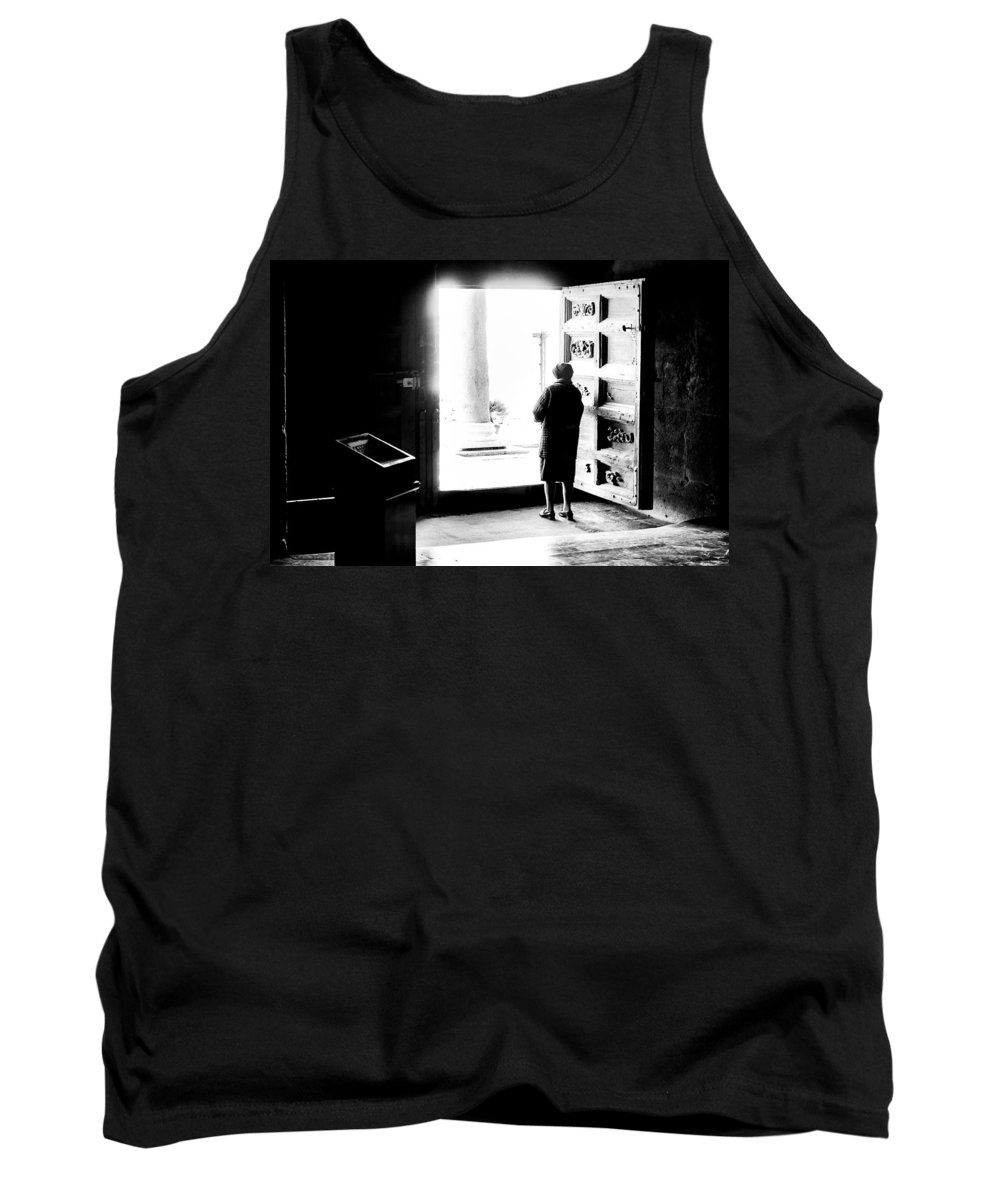 Woman Tank Top featuring the photograph One Step From The Unknown by Alfio Finocchiaro