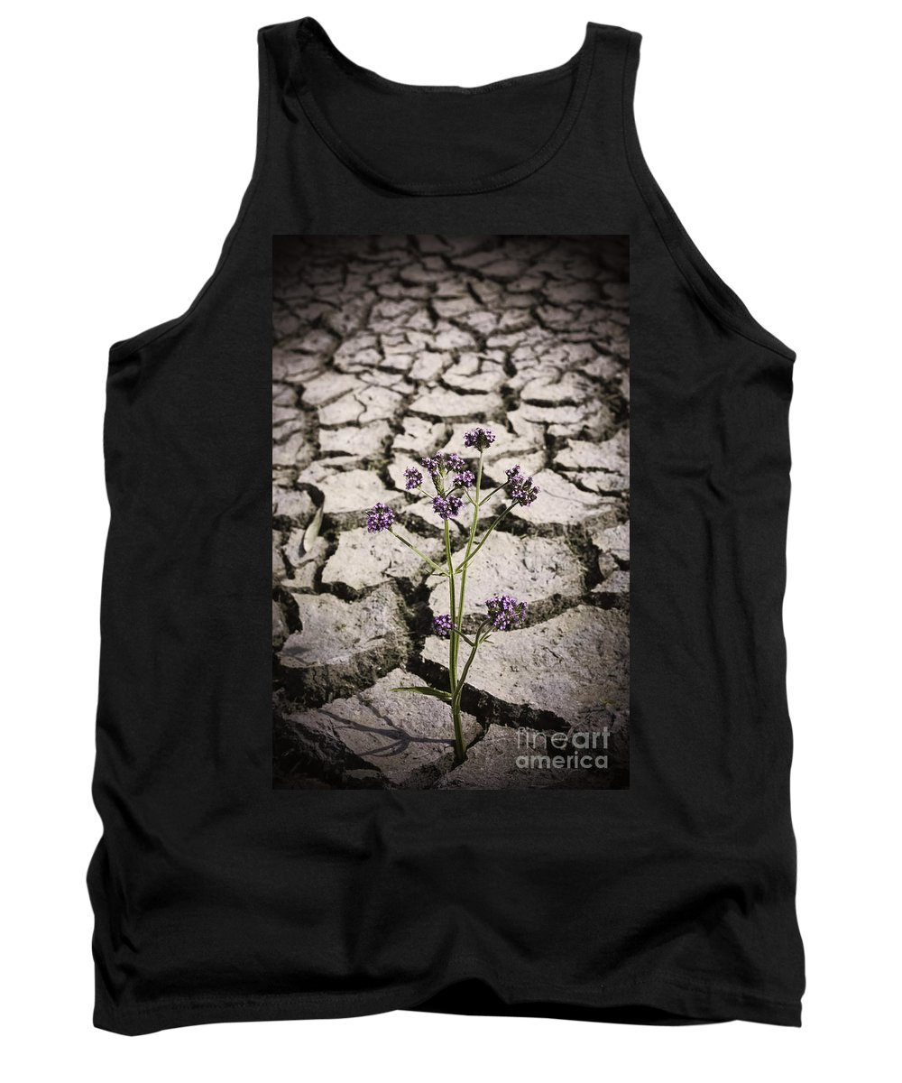 Concept Tank Top featuring the photograph Plant Growing Through Dirt Crack During Drought  by Jorgo Photography - Wall Art Gallery