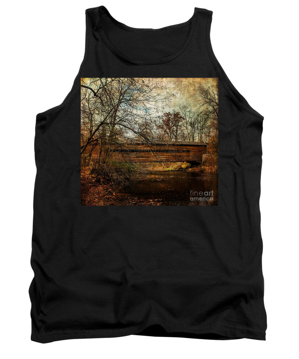 Enhanced Tank Top featuring the photograph Rapps Dam Covered Bridge by Judy Wolinsky