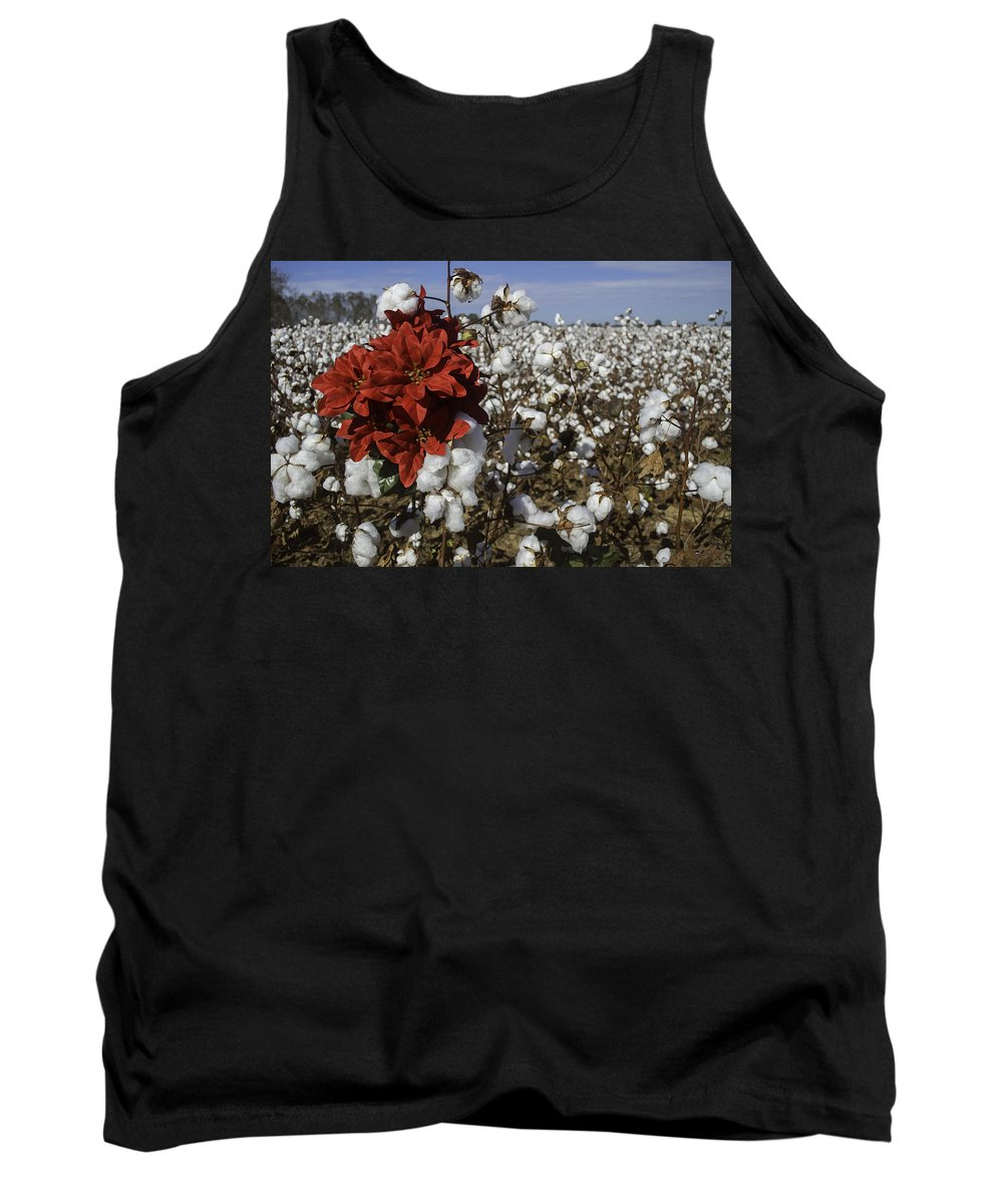 Christmas Tank Top featuring the digital art Red In The Cotton by Michael Thomas