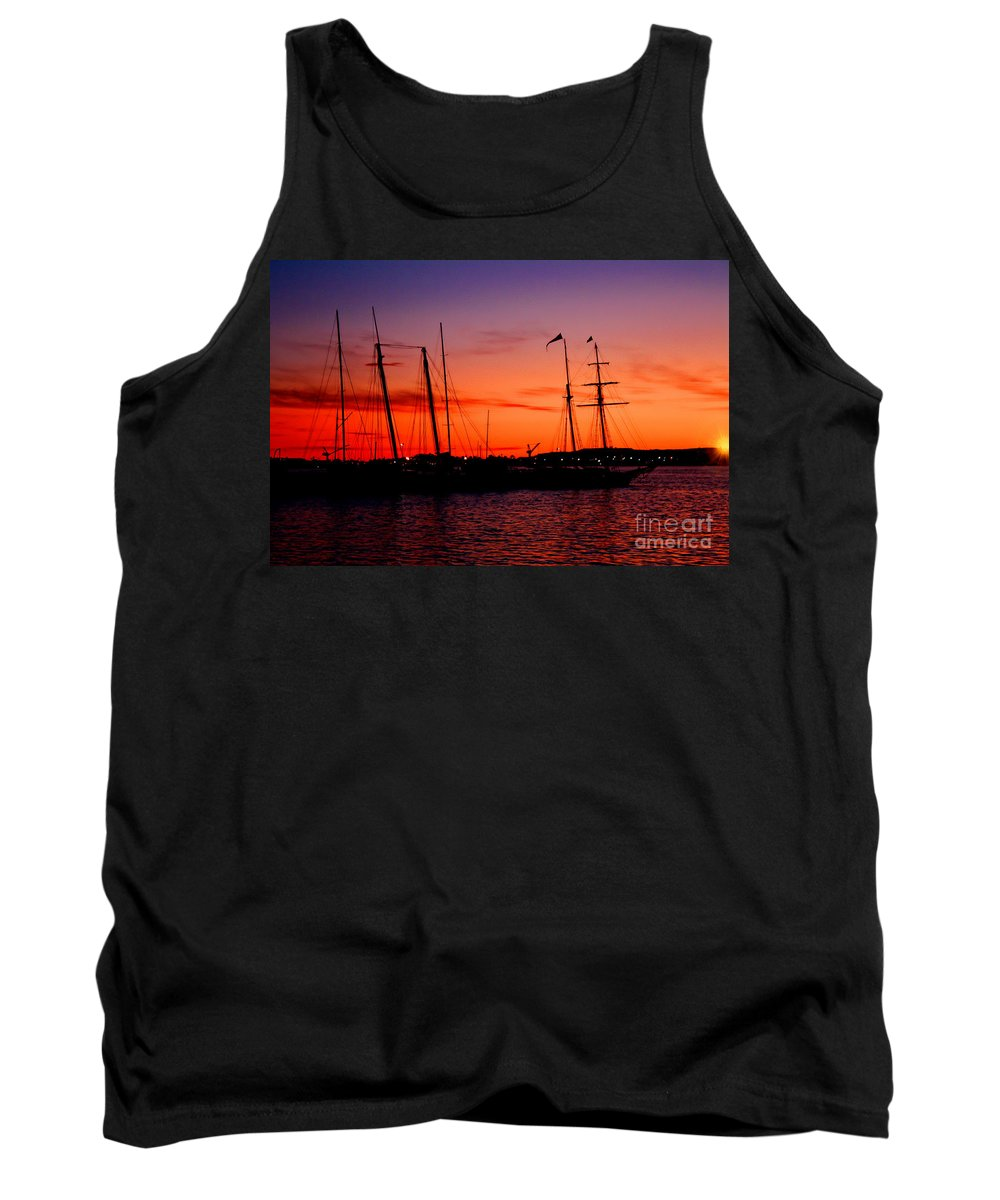 San Diego Tank Top featuring the photograph San Diego Harbor Sunset by Tommy Anderson