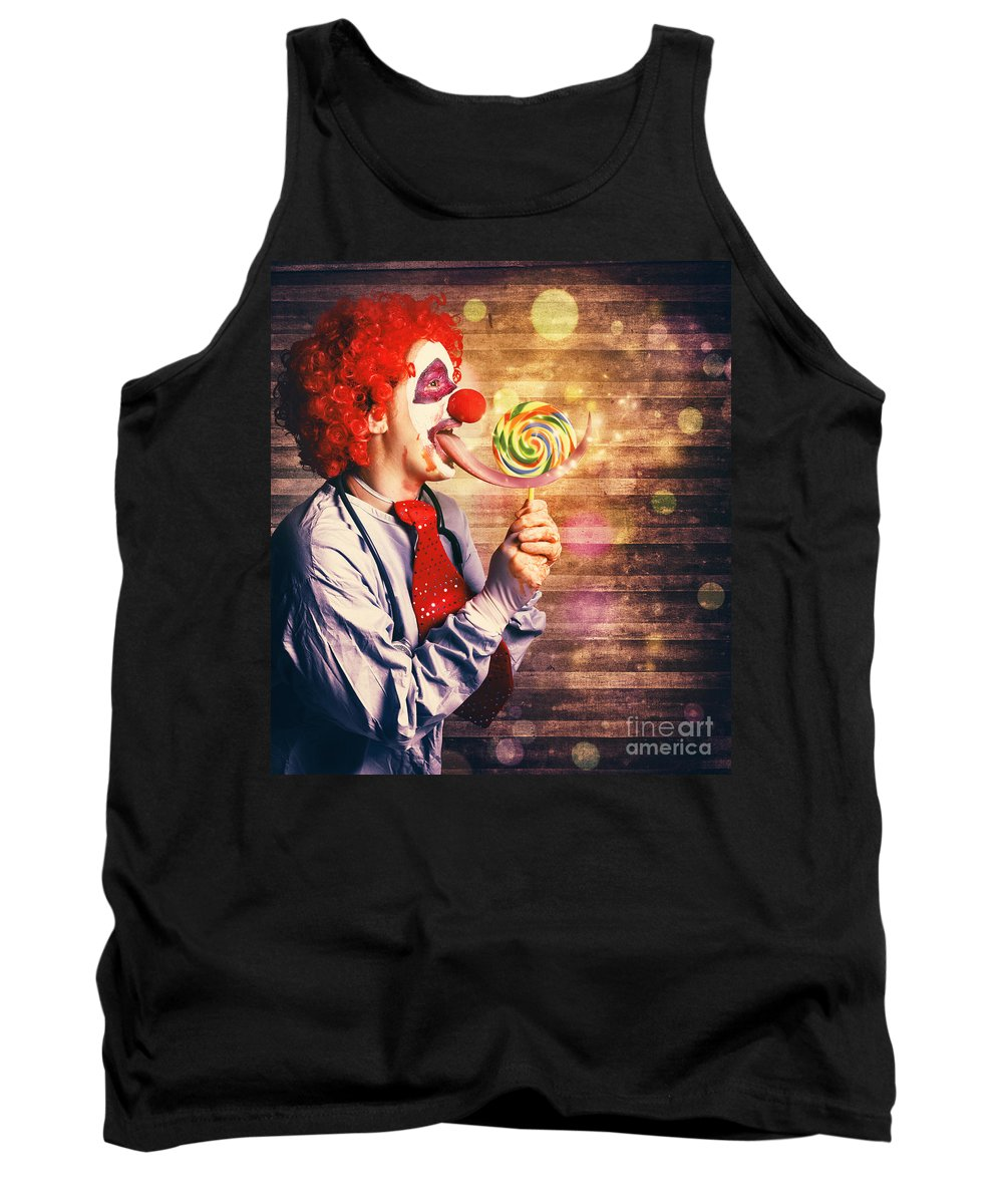 Circus Tank Top featuring the photograph Scary Circus Clown At Horror Birthday Party by Jorgo Photography - Wall Art Gallery