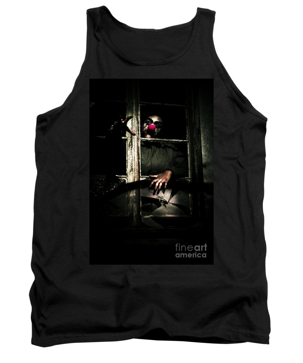 Clamoring Tank Top featuring the photograph Scary Clown Clawing Window by Jorgo Photography - Wall Art Gallery