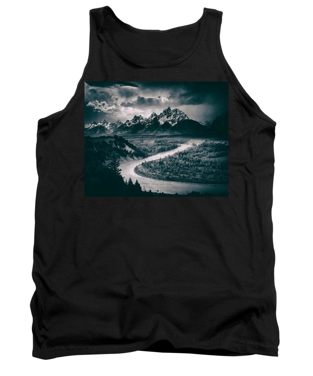Ansel Adams Tank Top featuring the photograph Snake River In The Tetons - 1930s by Mountain Dreams