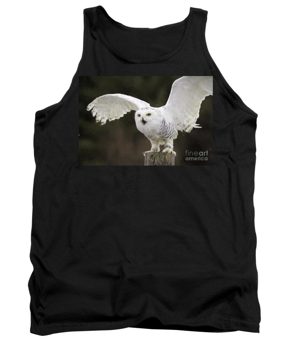 Beak Tank Top featuring the photograph Snowy Owl by Les Palenik