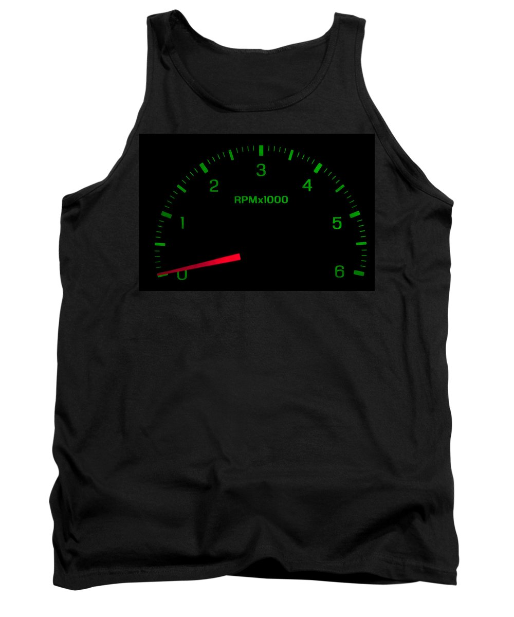 Arrow Tank Top featuring the photograph Speedometer On Black Isolated by Gunter Nezhoda