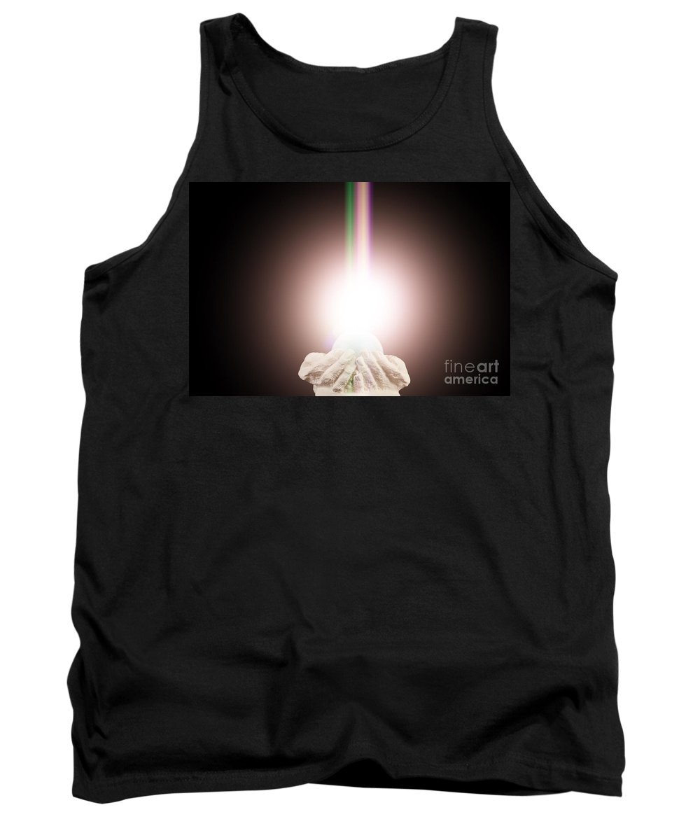 Spiritual Tank Top featuring the photograph Spiritual Light In Cupped Hands On A Black Background by Simon Bratt Photography LRPS