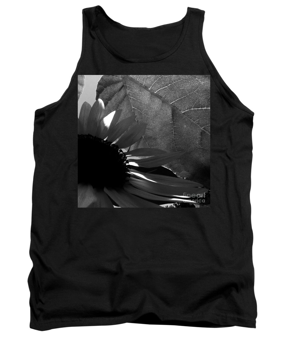 Black And White Tank Top featuring the photograph 1 Sq Leafy Sun Shadows Bw by Dale Crum