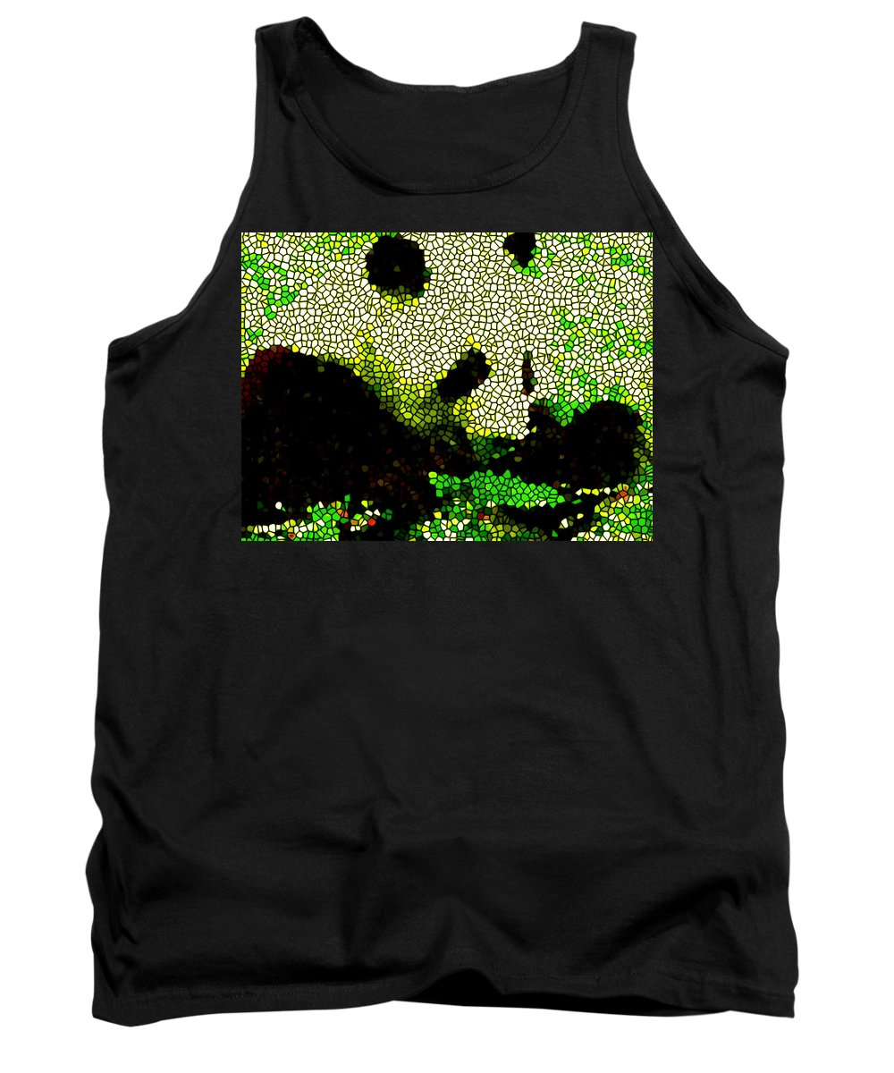Stained Glass Panda Tank Top featuring the painting Stained Glass Panda 2 by Jeelan Clark