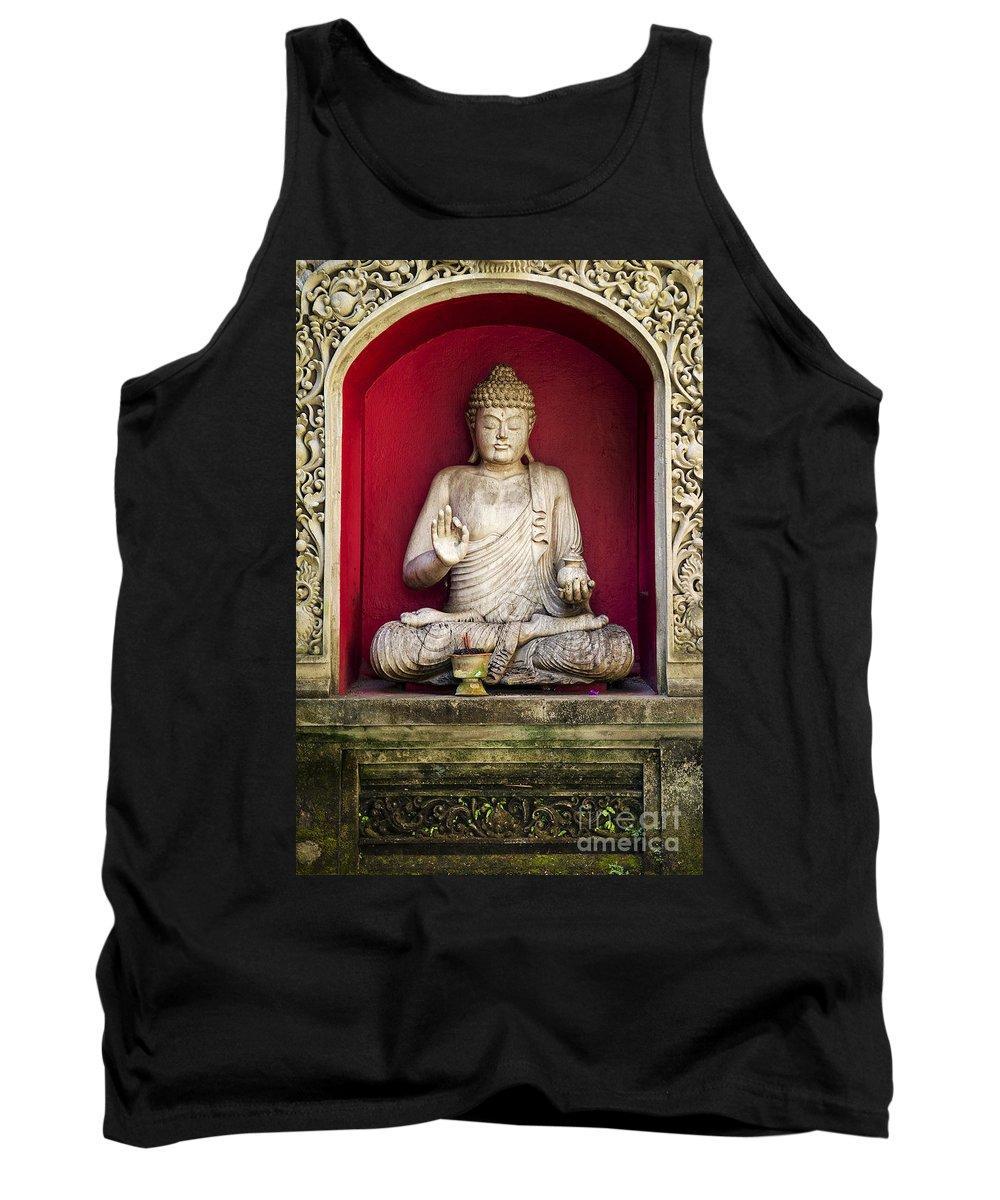 Art Tank Top featuring the photograph Stone Statue Of Buddha In Bali Indonesia by Jacek Malipan