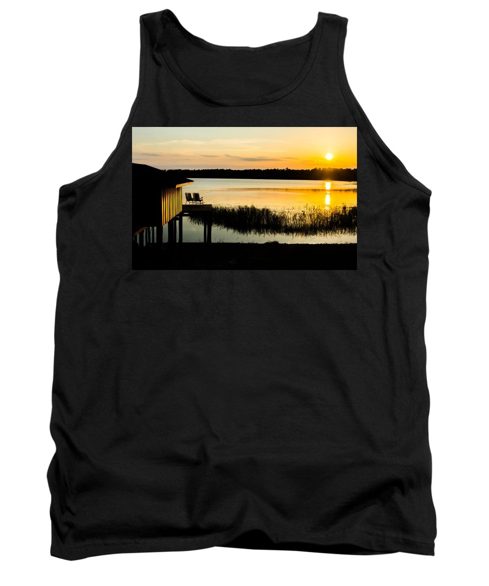 Dock Tank Top featuring the photograph Sunset Over The Lake by Parker Cunningham