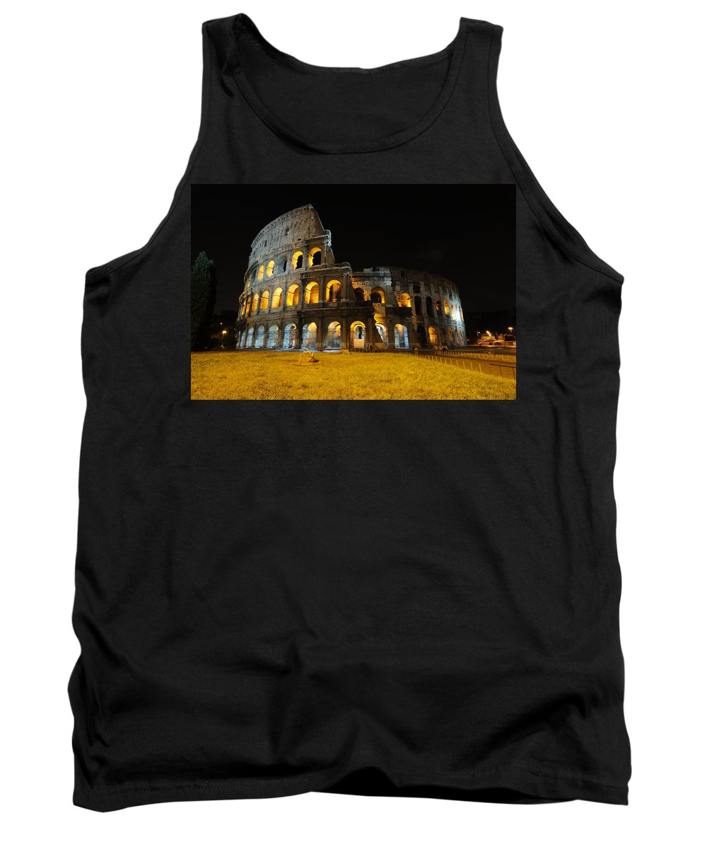 Coliseum Tank Top featuring the photograph The Colosseum At Night by Jeremy Voisey