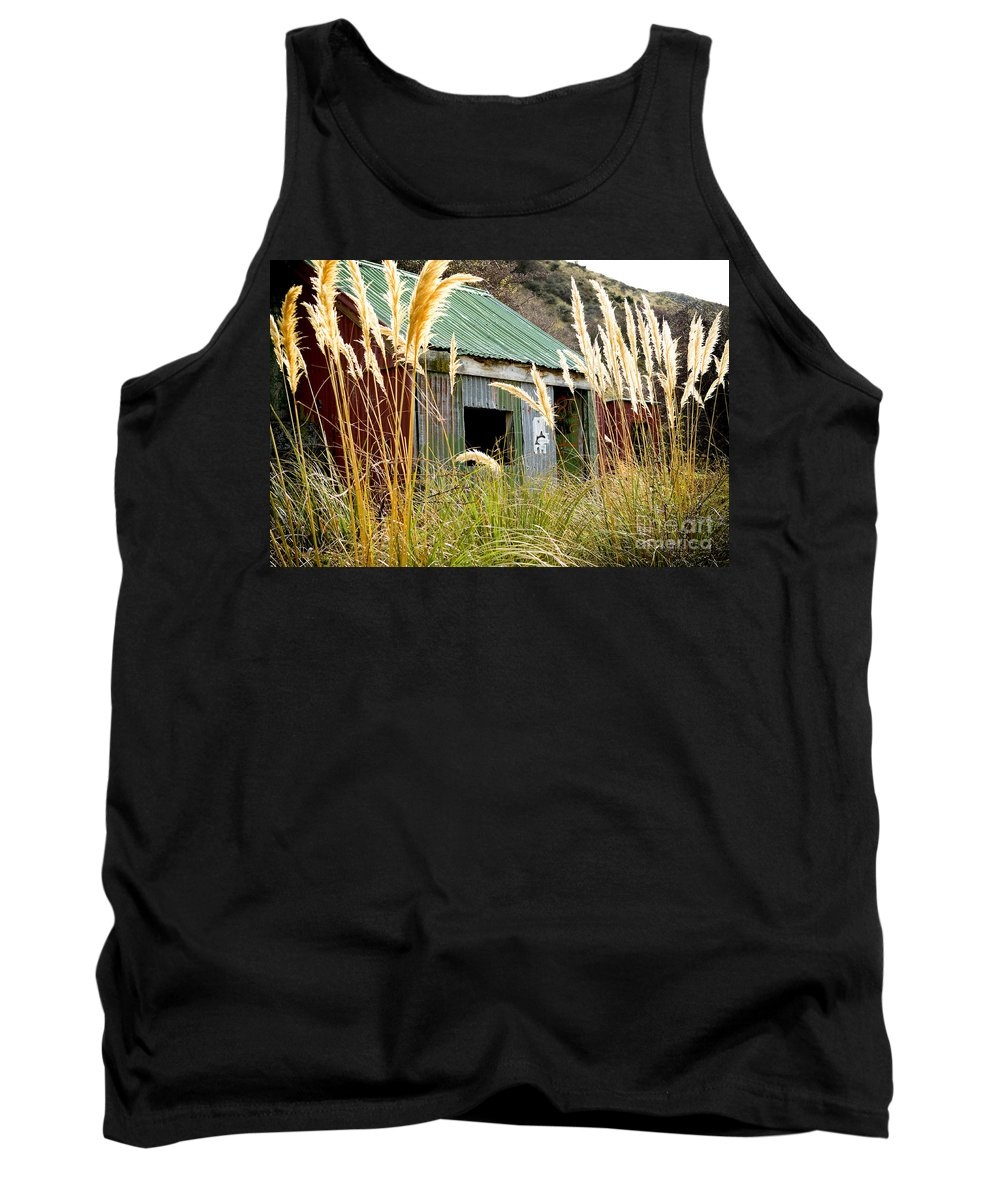 Tin Tank Top featuring the photograph Tin Hut by Tim Hester