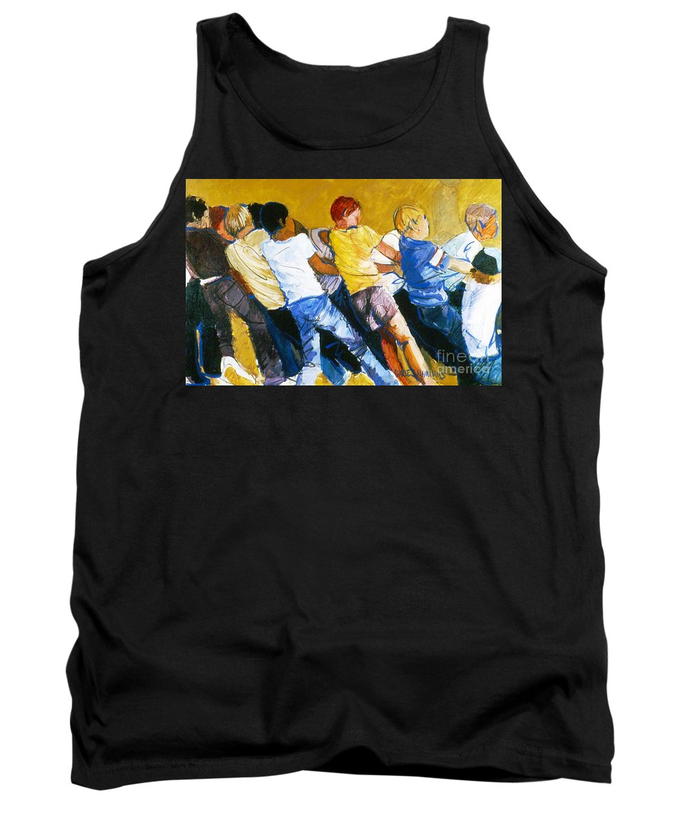 Strength Tank Top featuring the painting Tug Of War by Charles M Williams