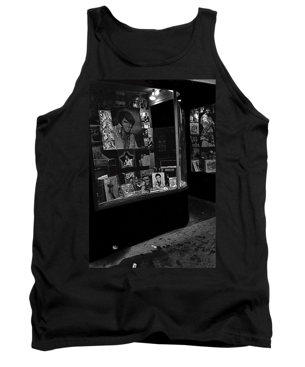 Window Display Night Of Elvis Presley's Death Recordland Portland Maine 1977 Tank Top featuring the photograph Window Display Night Of Elvis Presley's Death Recordland Portland Maine 1977 by David Lee Guss