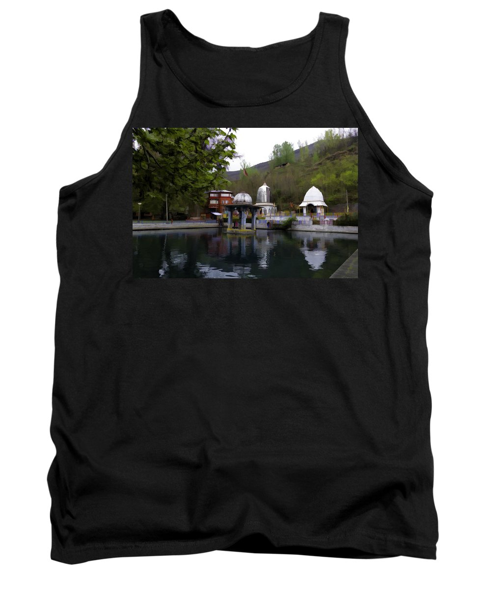 Action Tank Top featuring the photograph Premises Of The Hindu Temple At Mattan With A Water Pond by Ashish Agarwal