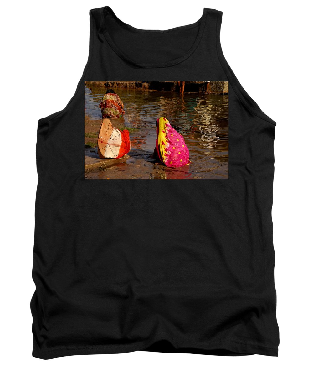 Bathing Ghats Tank Top featuring the digital art Hampi Ghats by Carol Ailles