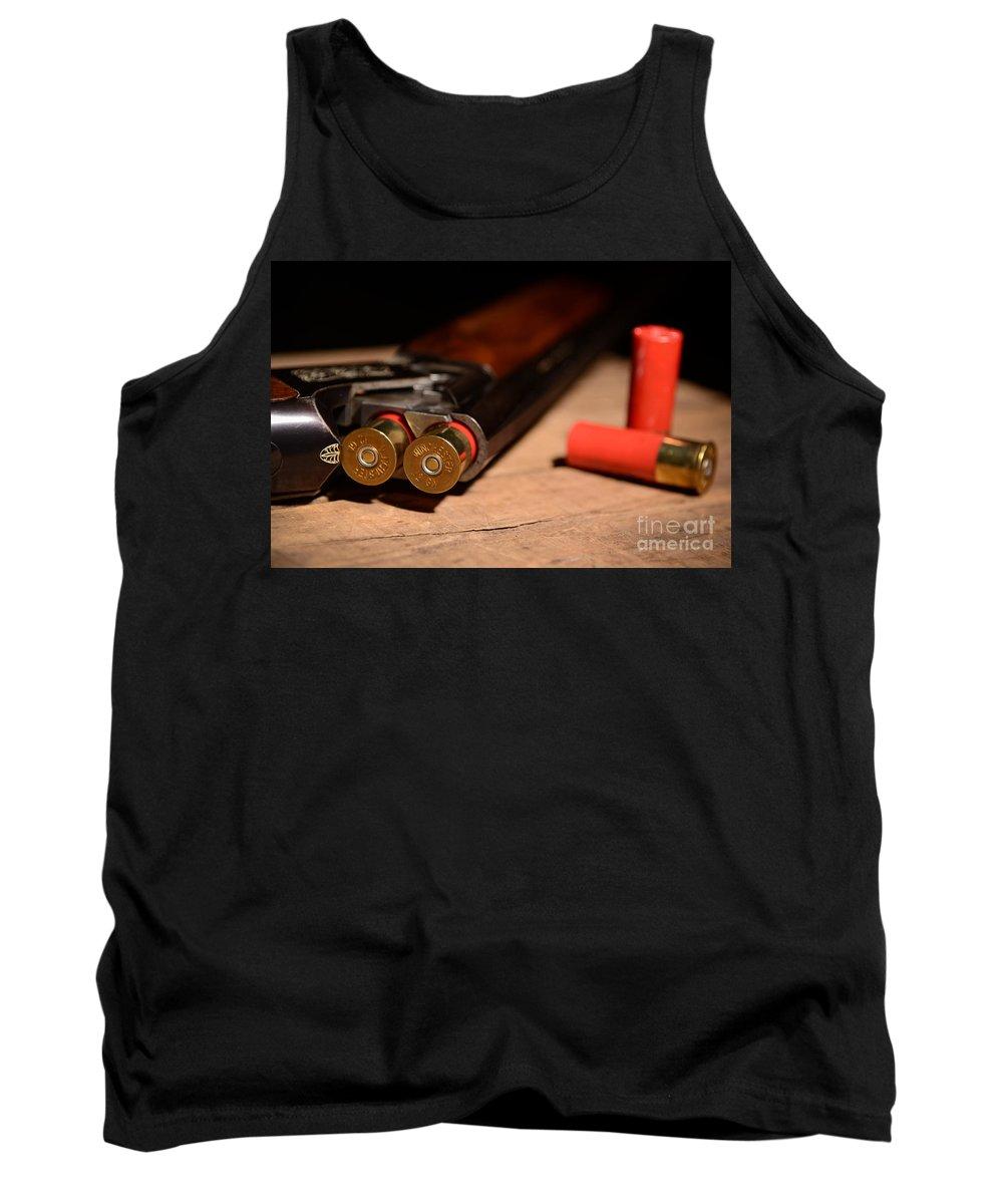 Shotgun Tank Top featuring the photograph 12 Gauge Over And Under Shotgun by Jt PhotoDesign