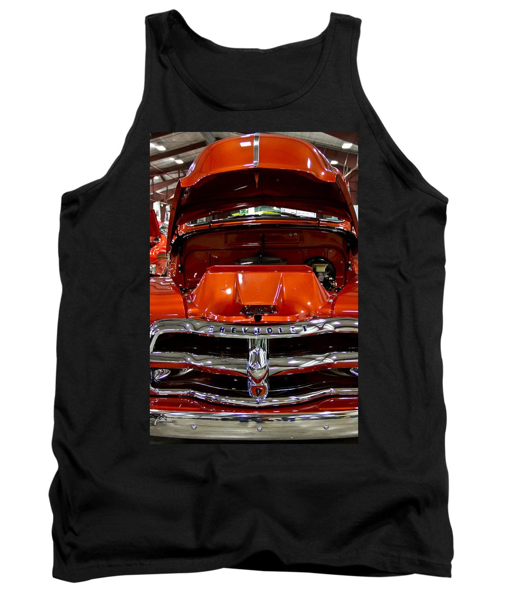 Retro Tank Top featuring the photograph 1955 Chevrolet Truck-american Classics-front View by Eti Reid