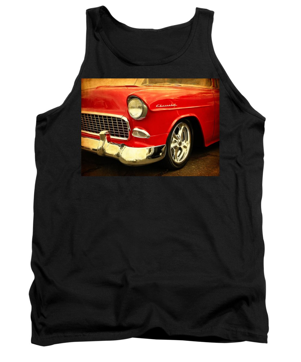 Chevy Tank Top featuring the photograph 1955 Chevy Red by Steve McKinzie