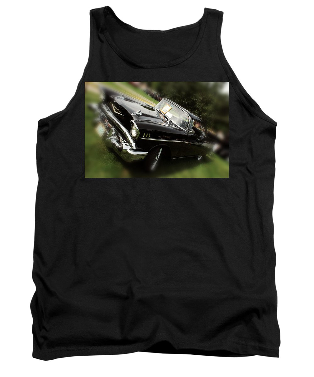 Black Chevy Tank Top featuring the photograph 1957 Chevrolet by Sherman Perry